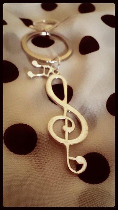 Portachiavi musica chiave di violino e note_Uomo Donna_idea regalo