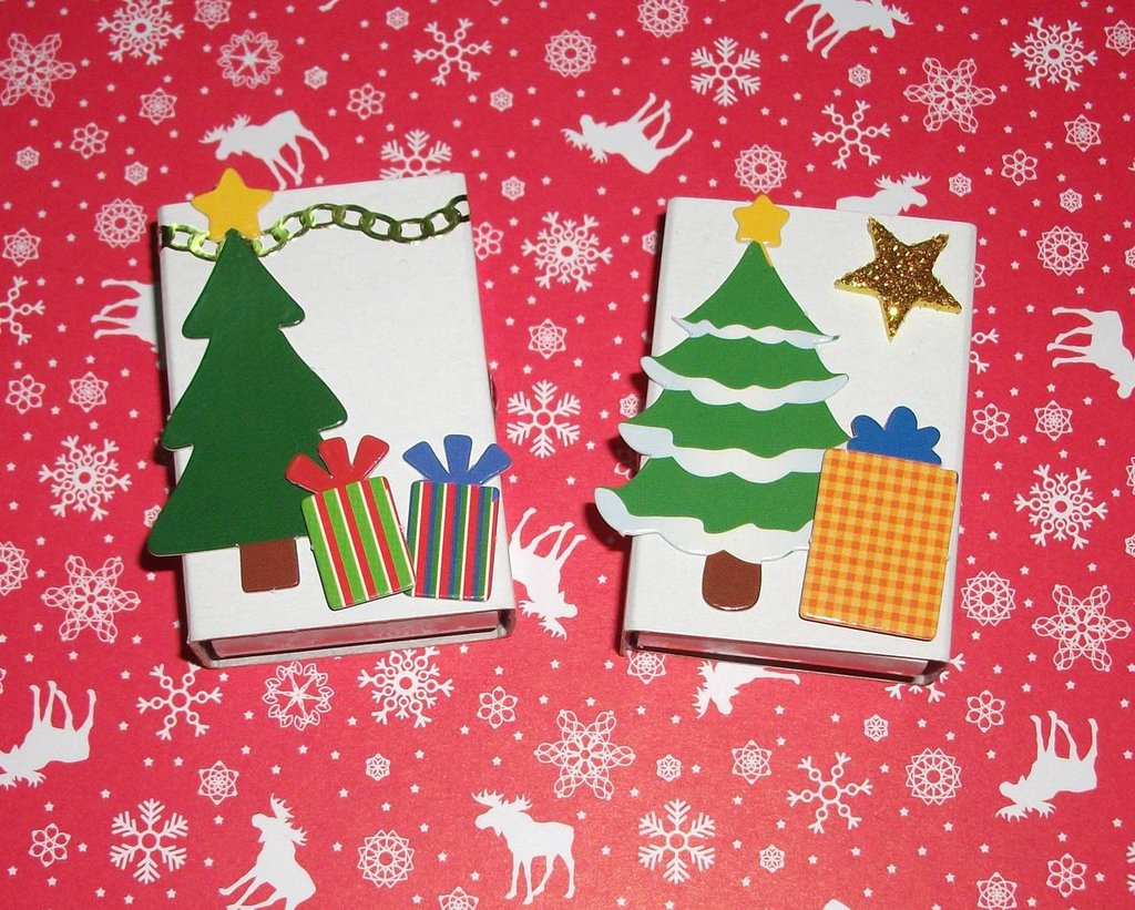 Scatoline decorate per Regali di Natale - Alberello^^ - Scrapbooking&Packaging - Lotto (2pz)
