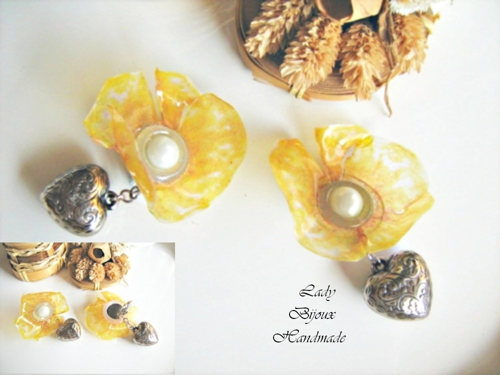 Orecchini a clip con fiore Papavero giallo fatto in Sospeso Trasparente con cuori pendenti bijoux regalo
