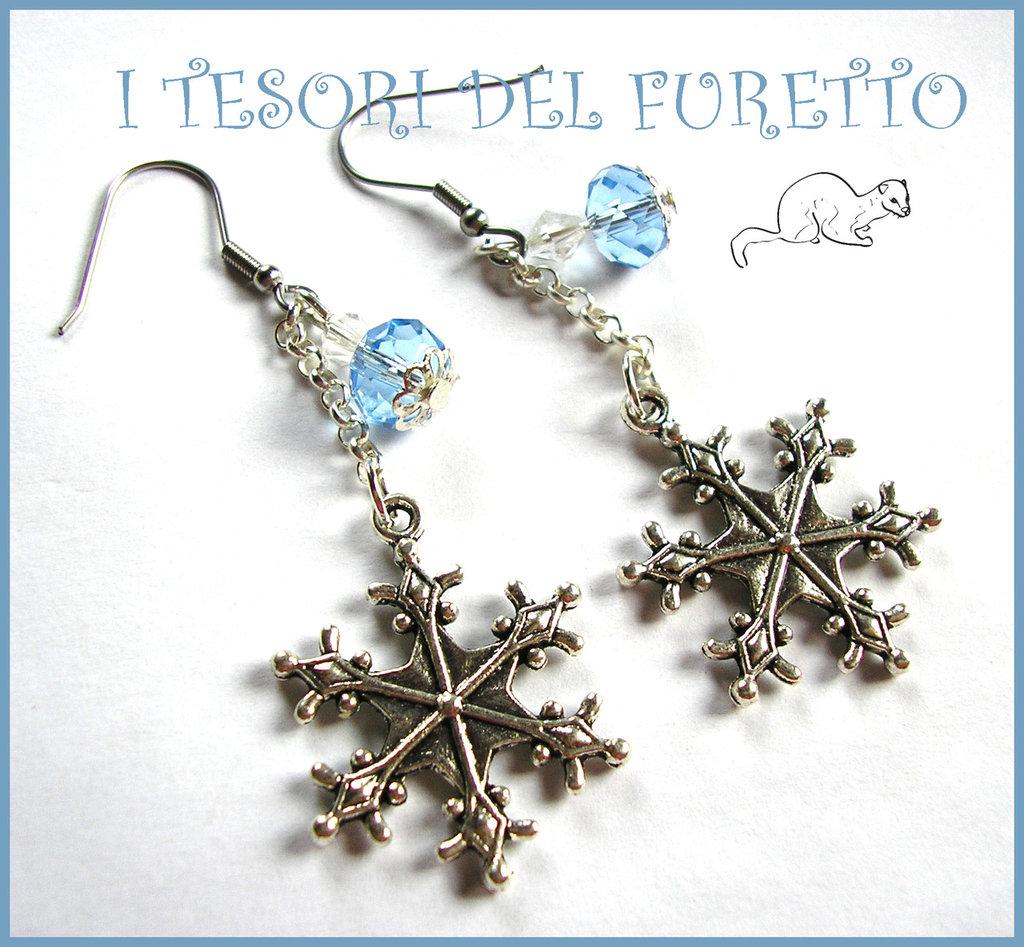 """Orecchini """"Neve e ghiaccio"""" Perle fiocco di neve Natale 2014 idea regalo bianco azzurro"""