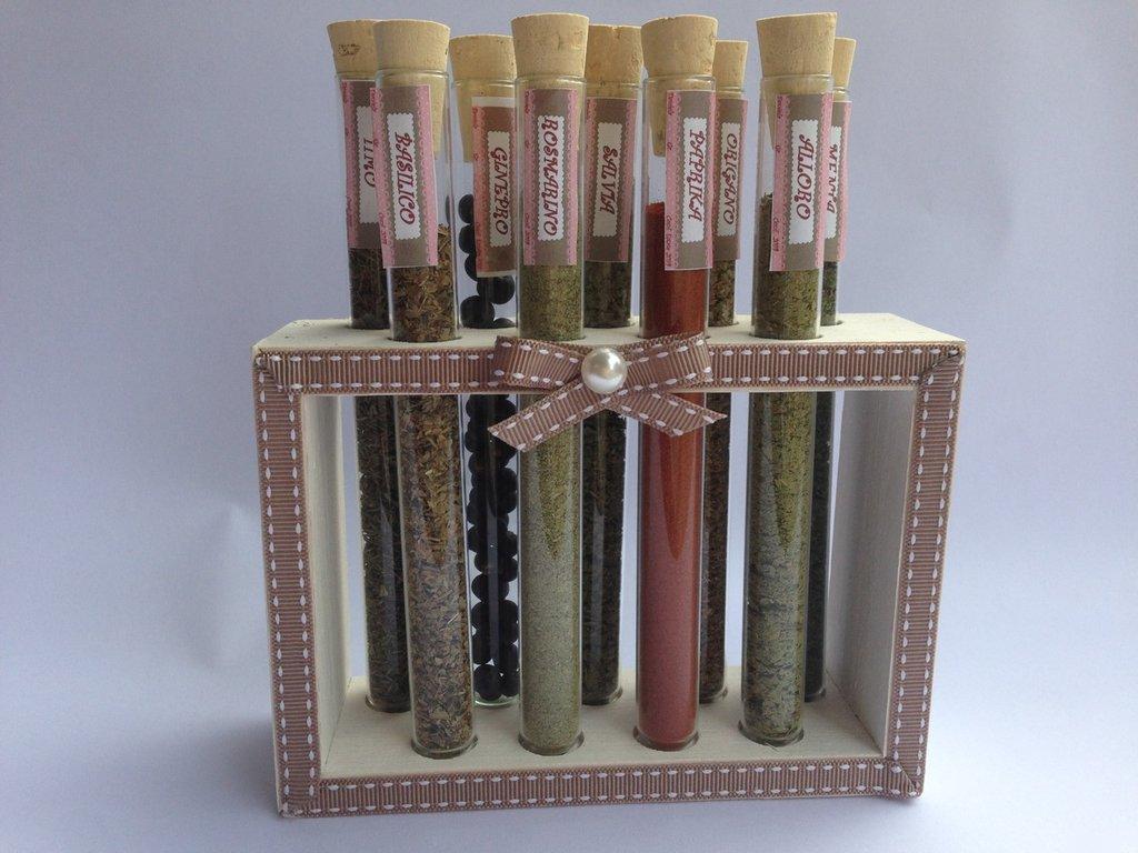 PORTA SPEZIE con provette di vetro e supporto in legno, idea regalo, fatto a mano