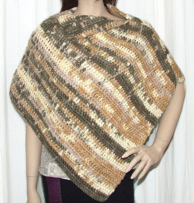 Poncho donna lana colori pastello lavorato uncinetto - fatto a mano