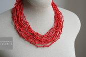 Tessile collana , Colori: rosso , argento