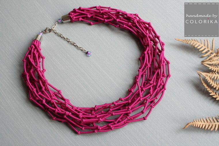 Tessile collana , Colori: rosa, argento