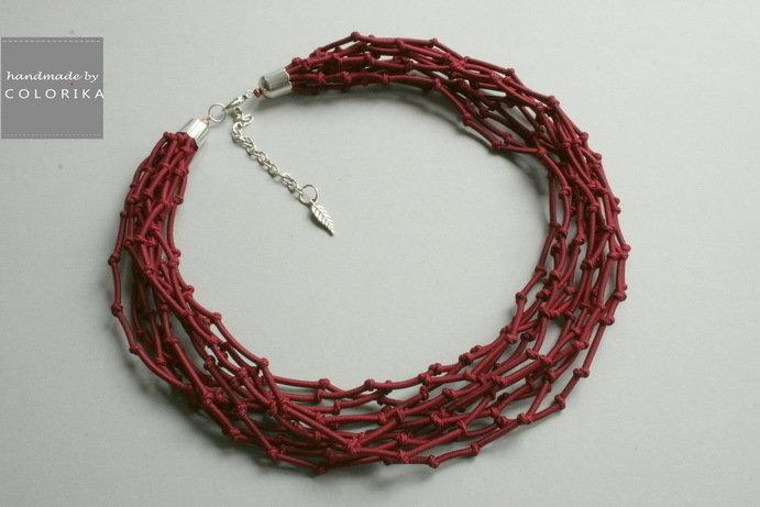 Tessile collana , Colori: borgogna, argento