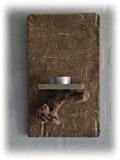 Portalumino da parete con legno di mare