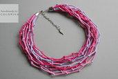 Tessile collana , Colori: viola, rosa, argento