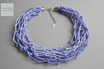Tessile collana , Colori: viola, argento