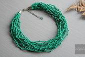 Tessile collana , Colori: verde, argento