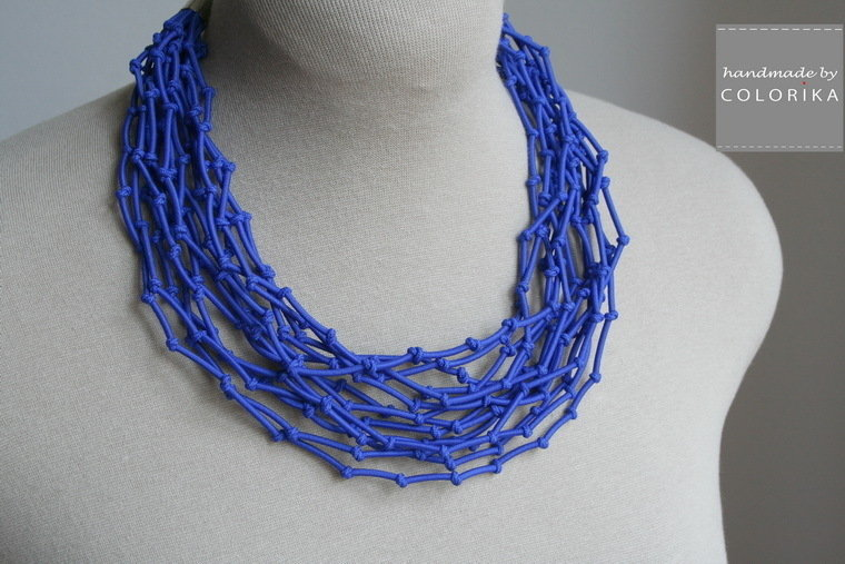 Tessile collana , Colori: blu , argento