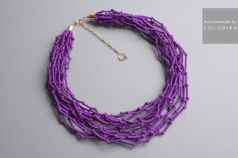 Tessile collana , Colori: viola, oro