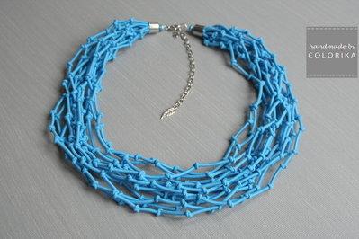 Tessile collana , Colori: azzurro , argento