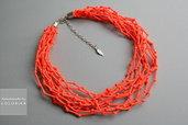 Tessile collana , Colori: neon arancione , argento