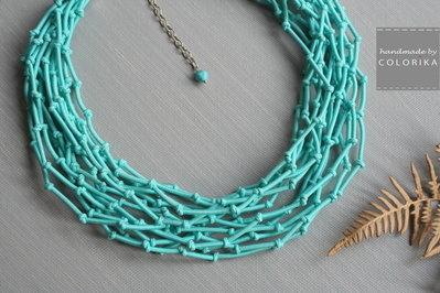 Tessile collana , Colori: turchese, argento
