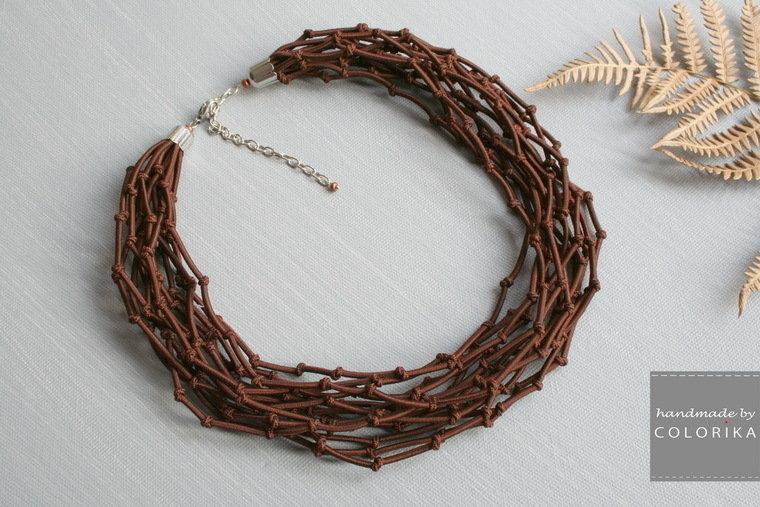 Tessile collana , Colori: marrone, argento