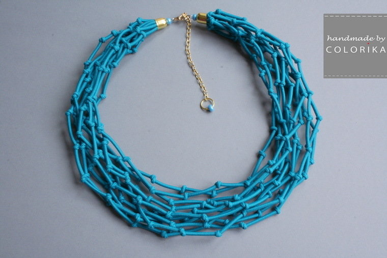 Tessile collana , Colori: blu , oro