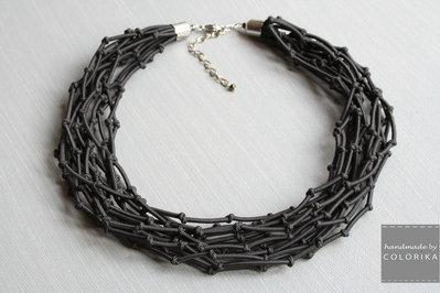 Tessile collana , Colori: grigio , argento