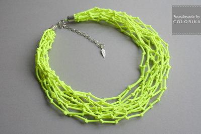 Tessile collana , Colori: neon giallo, argento