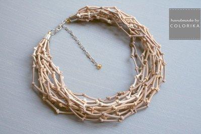 Tessile collana , Colori: beige , argento