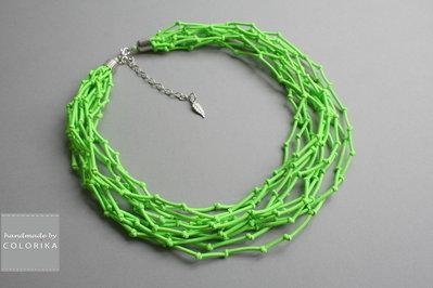 Tessile collana , Colori: verde , argento