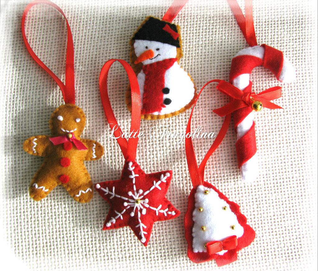 Set di 5 addobbi natalizi, Natale feltro decorazioni