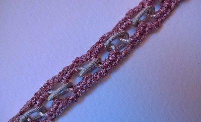 Braccialetto Crochet con catena rosa argento