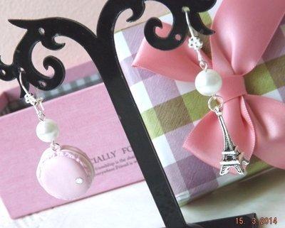 Orecchini con macaron in fimo,perle,ciondolo tour Eiffel idea regalo Natale