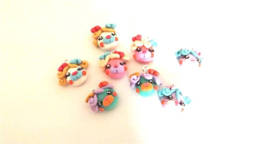 REVIVAL ANNI 80 - FIMO - I POPPLES - orsetti da  collezione - ciondolo testa UNO A SCELTA  - idea regalo - per orecchini, braccialetti, charms, collane