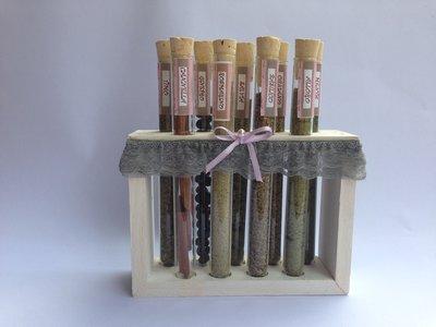 PORTA SPEZIE, con provette in vetro e supporto in legno, idea regalo, fatto a mano
