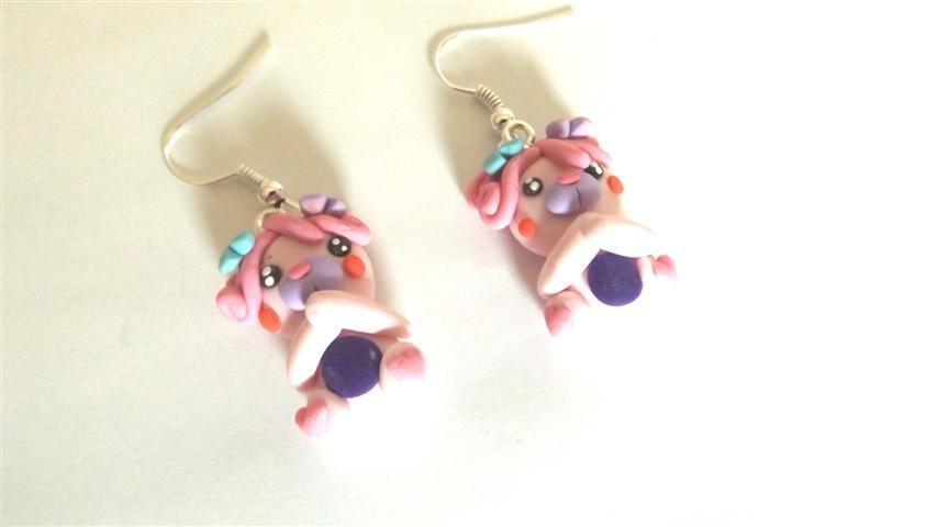 REVIVAL ANNI 80 - FIMO - I POPPLES - orsetti da  collezione - ORECCHINI color ROSA     - idea regalo -