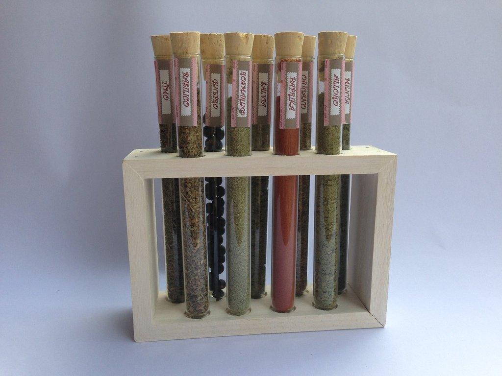 PORTA SPEZIE, con provette di vetro e supporto in legno, idea regalo, fatto a mano