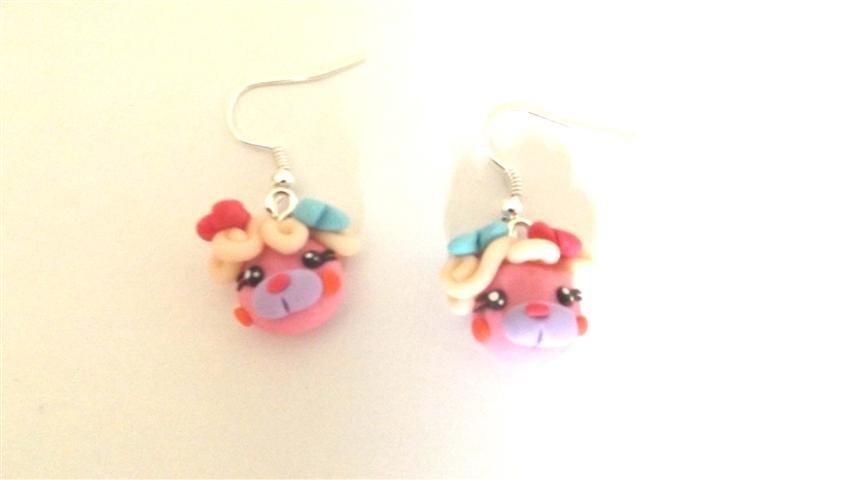 REVIVAL ANNI 80 - FIMO - I POPPLES - orsetti da  collezione - ORECCHINI color ROSA ( testa)      - idea regalo -