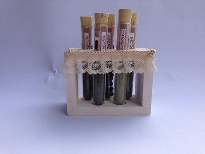 PORTA SPEZIE, con contenitori in vetro e supporto in legno, idea regalo, fatto a mano