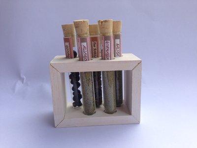 PORTA SPEZIE, con contenitori in vetro e supporto in legno, ottima idea regalo, fatto a mano
