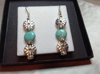Orecchini  pendenti azzurro e argento