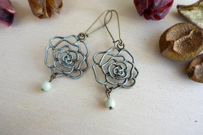 Orecchini Roses in bronzo anticato vintage style