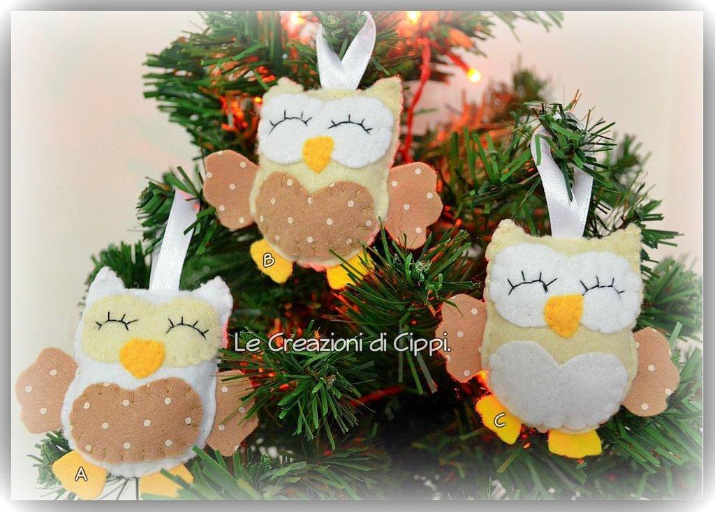 Decorazioni natalizie gufetti shabby chic feste - Decorazioni natalizie ...