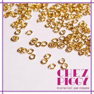 100 x anellini apribili dorati - 3mm