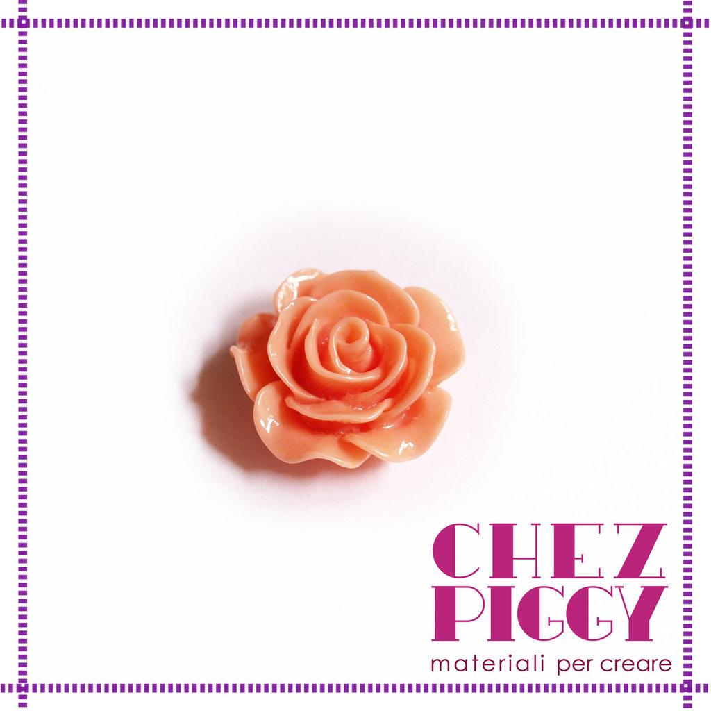 1 x cabochon - fiore rosa salmone