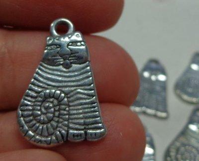 10 Ciondoli in Argento Tibetano GATTO
