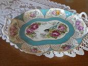 Vassoio Turchese con uccellino e fiori