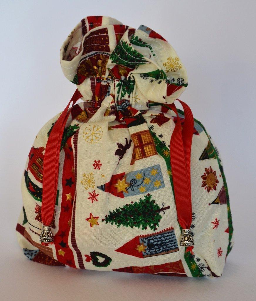 Borsina in cotone soggetto natalizio con coulisse