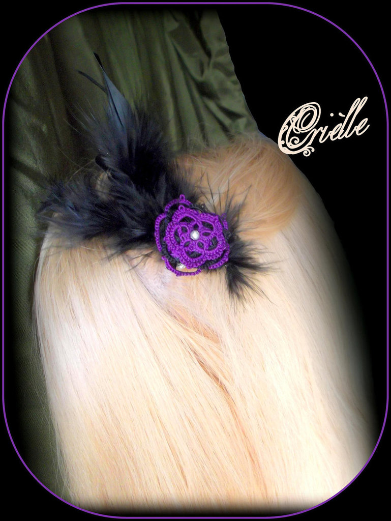 "Fascinator -  Spilla Viola Nero ""Galatea"""