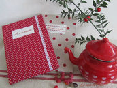 Quaderno per ricette rivestito in tessuto a pois
