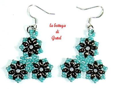 orecchini color azzurro e bronzo