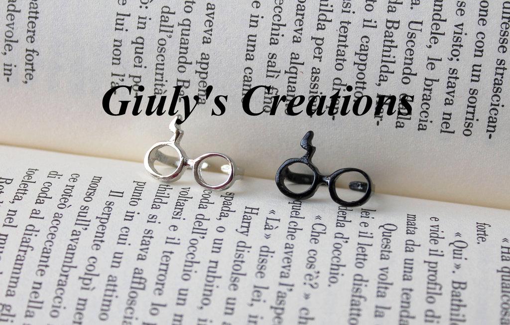Anello con Occhiali e Saetta di HARRY POTTER cicatrice e occhiali di Harry Potter Hogwarts ring