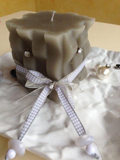 CENTROTAVOLA, con candela, piatto originale, perle e strass