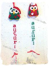 Fuoriporta o decorazione gufetti natalizi in feltro con scritta.