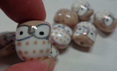 5 Perline Gufetti BEIGE Porcellana