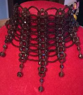 collana, collarino, girocollo in mezzo cristallo marrone e conteria